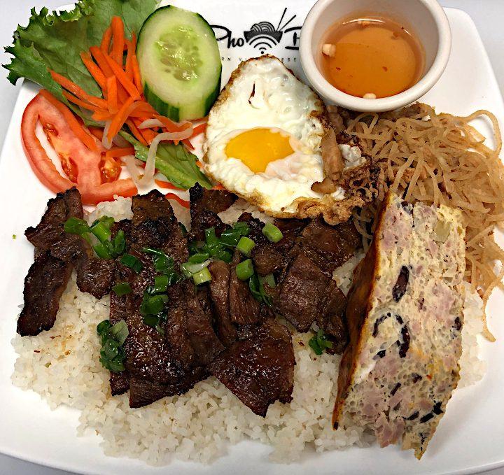Broken Rice w/ Grilled Pork, Shredded Pork & Egg Quiche / Cơm Tấm Heo Nướng, Bì, Chả Trứng